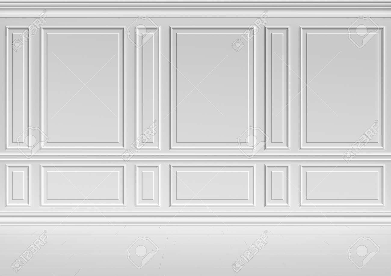 Einfache Klassischen Stil Nicht Farbe Weiß Inter Illustration   Weiße Wand  Im Klassischen Stil Weißen