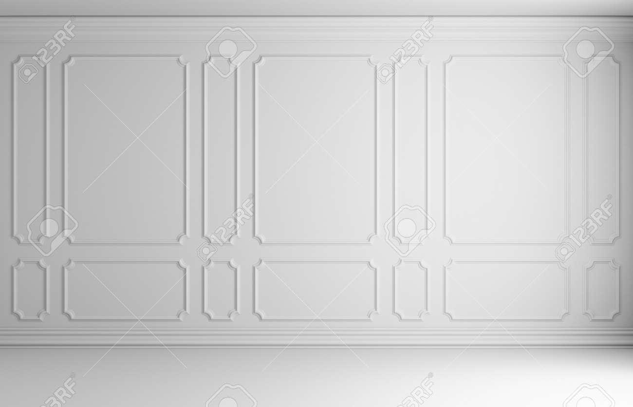 Simple classic style non-color white interior illustration - white wall with white decorative frame on the wall in classic style empty room with white floor and white baseboard, 3d illustration interior - 60897722