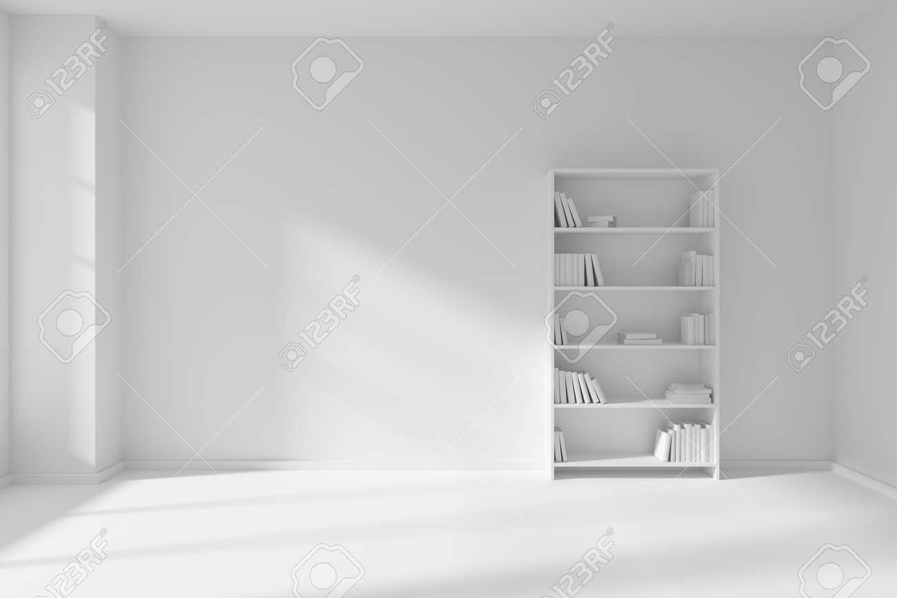 Minimalistische interieur des leeren weißen raum mit weißen boden