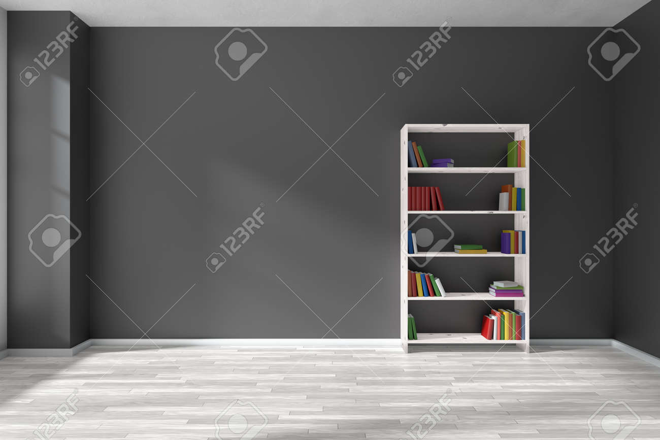 Empty Room With Black Wall White Parquet Floor And Bookshelf Many Color Books