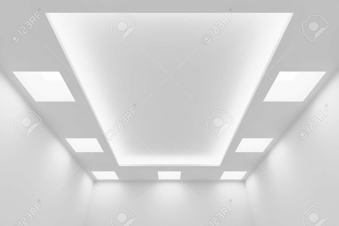 Abstract Architecture White Room Interior - Ceiling Of Empty.. Stock ...