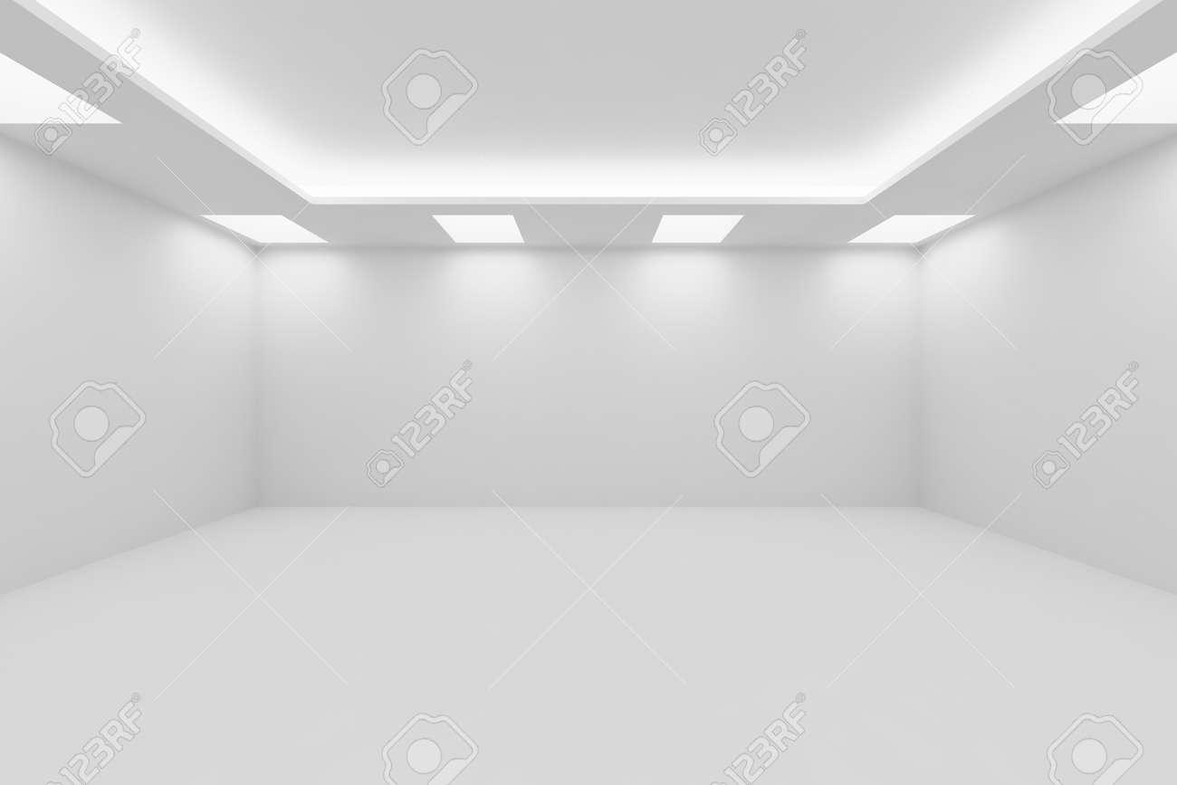 抽象的なアーキテクチャ ホワイト ルーム インテリア - 正方形の天井の ...