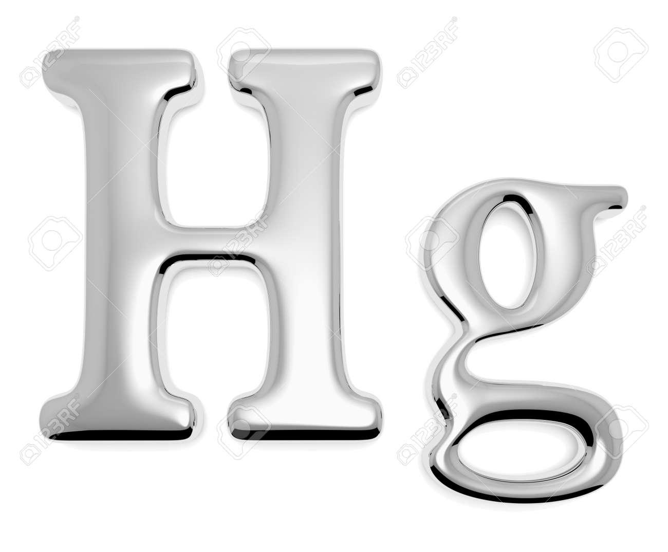 Shiny Mercury Metal Chemical Element Hg Sign Of Toxic Mercury
