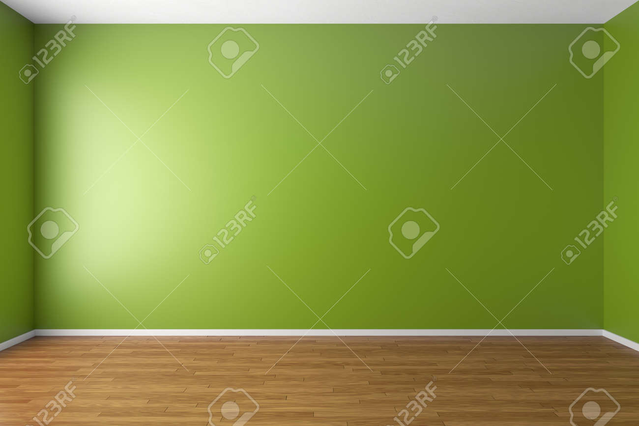 Empty Room With Green Walls Brown Hardwood Parquet Floor And Soft Skylight From Window