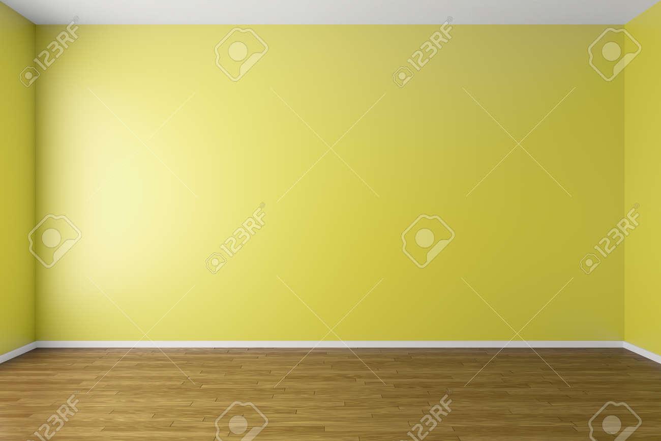 Empty Room With Yellow Walls, Dark Brown Hardwood Parquet Floor ...