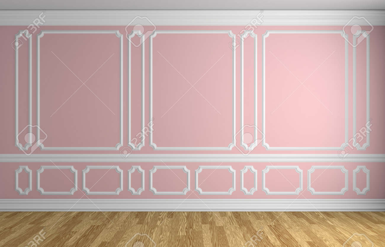 Mur Rose Avec Blanc L Ments De Moulures D Coratives Sur Le Mur Dans