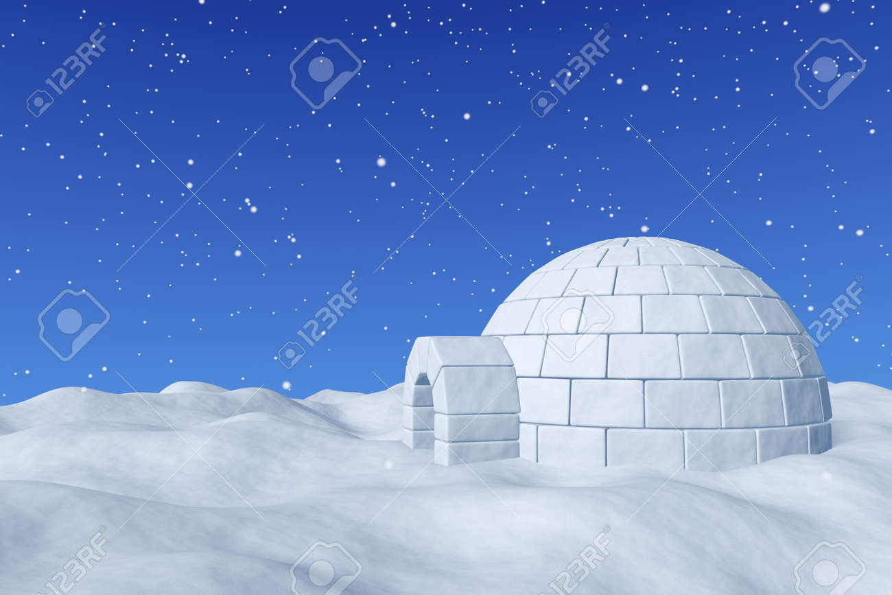 冬北の極地の積雪風景 エスキモーの家積雪降雪の 3 D イラストが冷たい