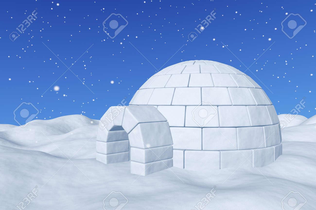 冬北の極地の積雪風景 エスキモーの家積雪降雪クローズ アップ 3 D