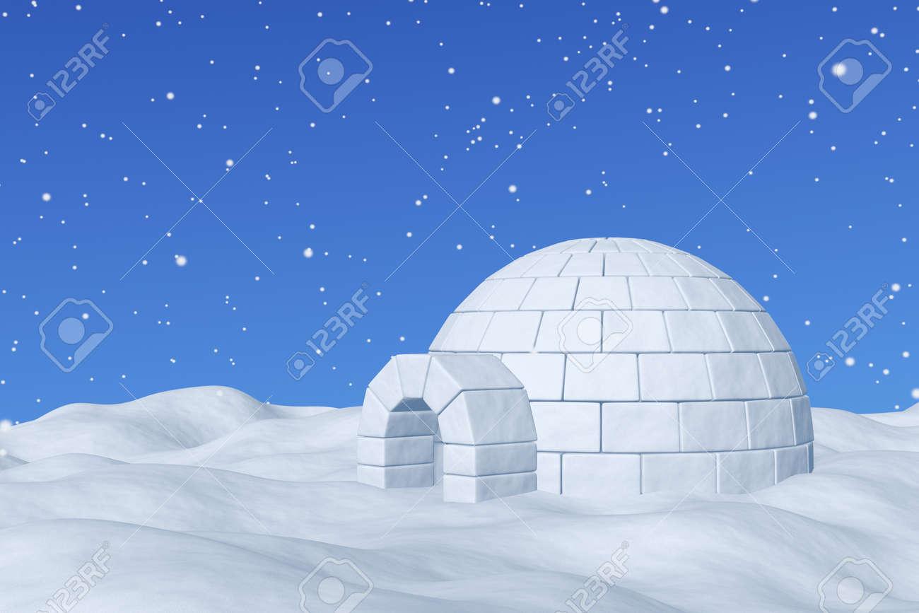 winter north polar snowy landscape eskimo house igloo icehouse
