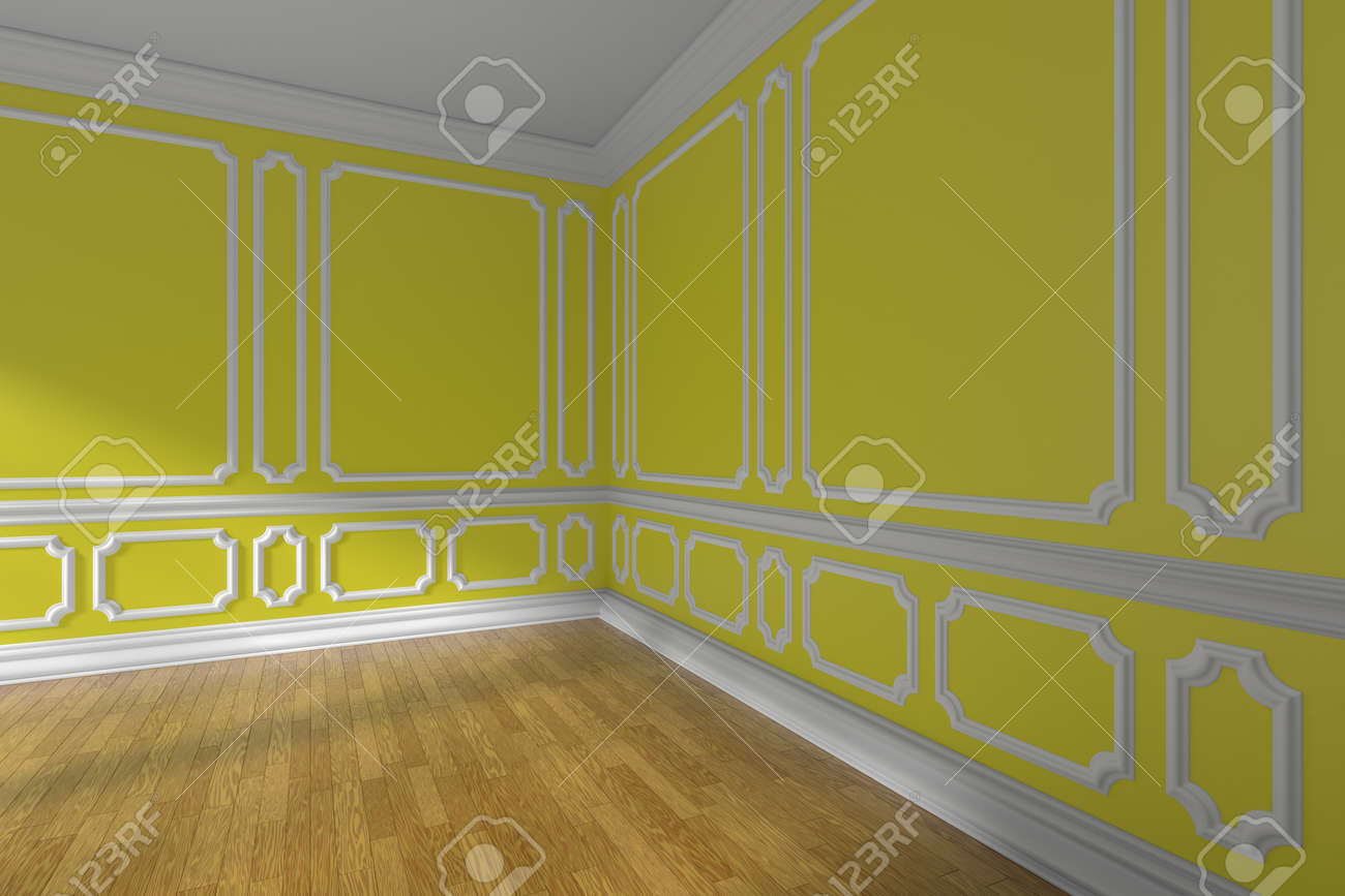 Empty Yellow Room Corner Interior With Sunlight From Window,.. Stock ...