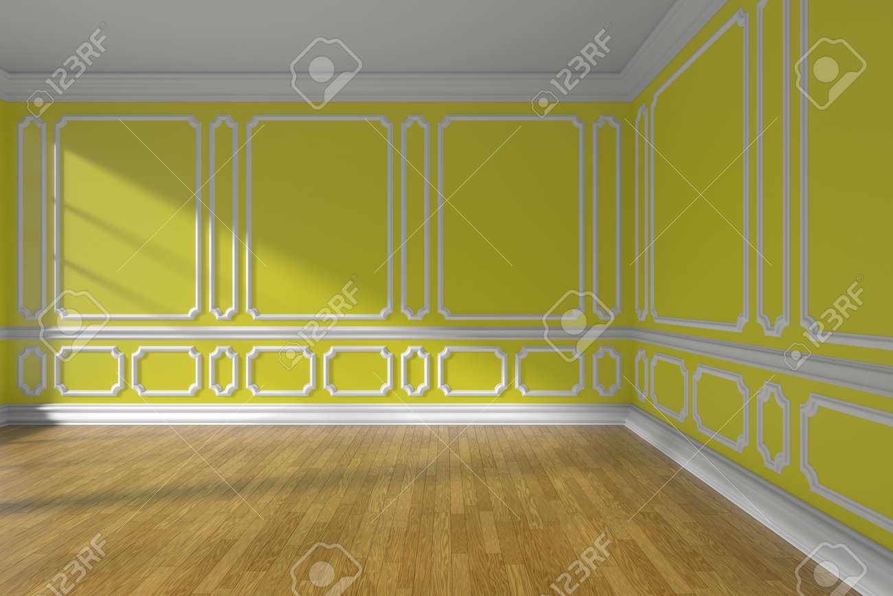 Empty Yellow Room Interior With Sunlight From Window, Decorative ...