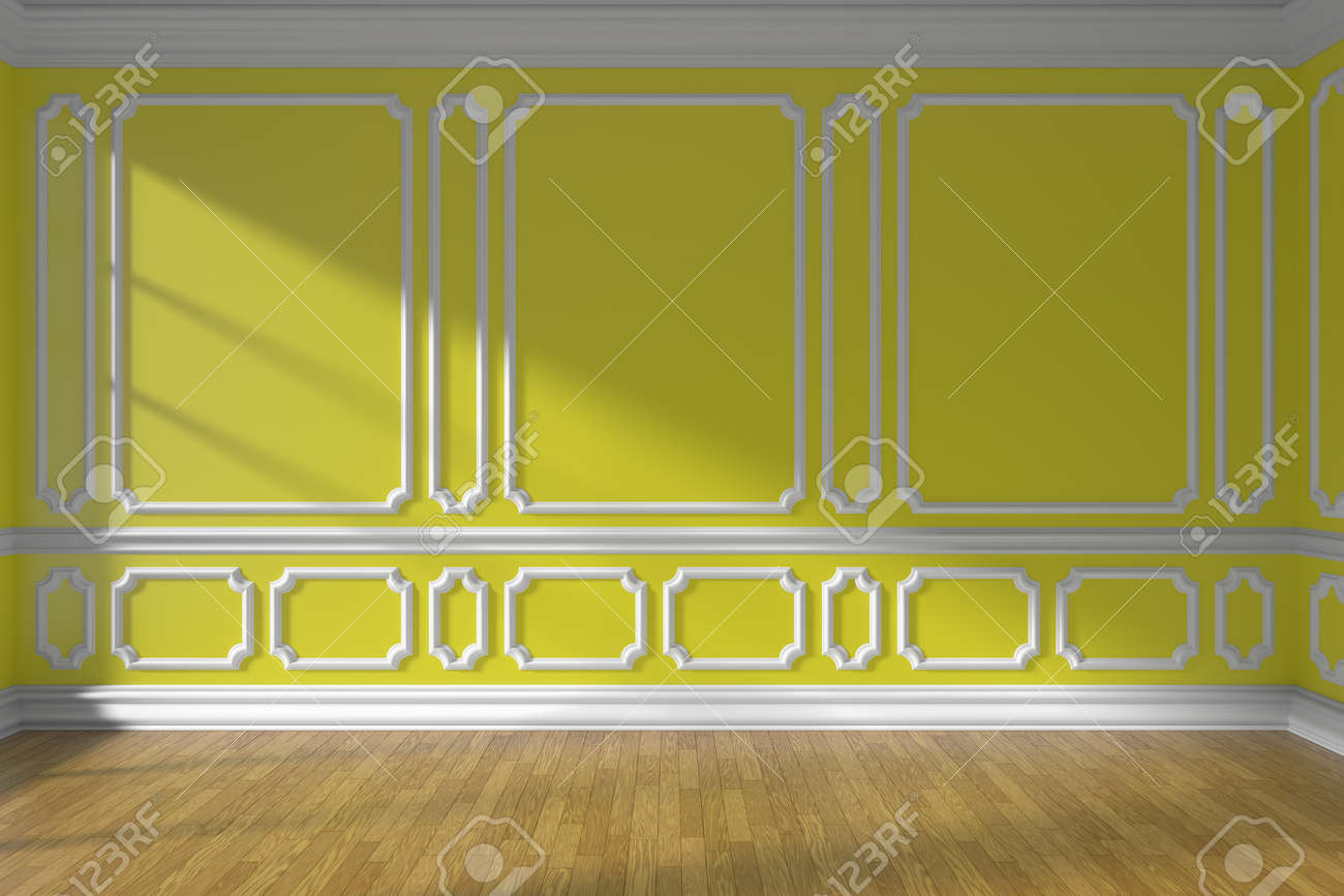 Yellow Empty Room Wall Interior With Sunlight From Window ...