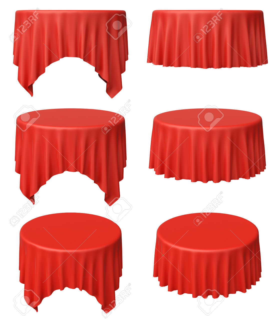 Illustration   Red Round Tablecloth Set Isolated On White, 3d Illustration  Collection