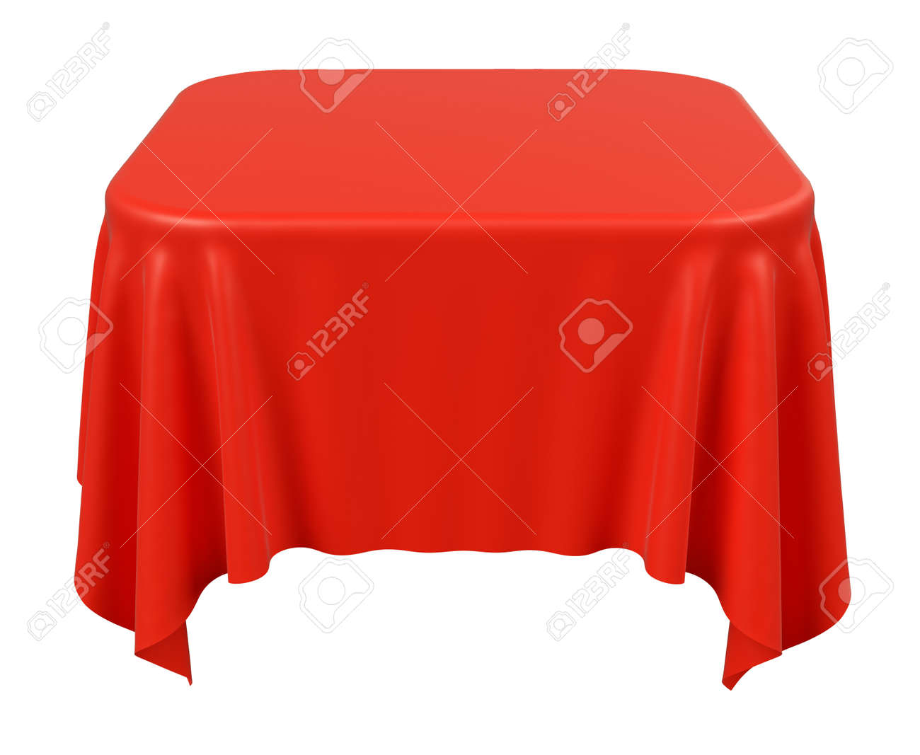 Illustration   Red Square Table Cloth With Rounded Corners Isolated On  White, 3d Illustration