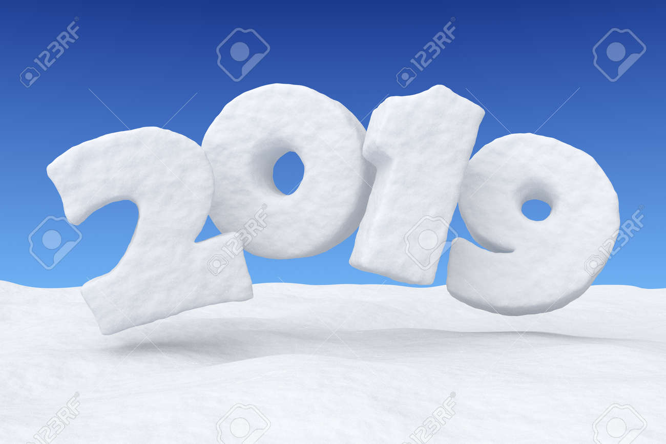2019 new year sign text written with numbers made of snow over snow