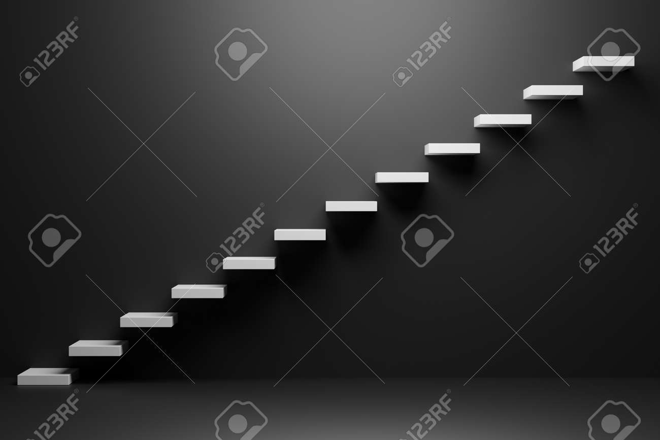 White ascending stairs of rising staircase going upward in black empty room, abstract 3D illustration. Business growth, progress way and forward achievement in the dark creative concept. - 142837357