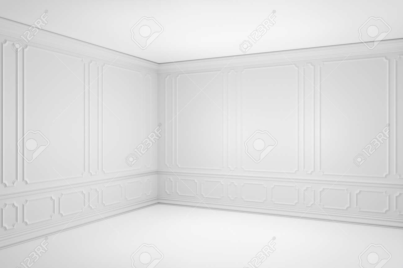 Simple empty white room with white decorative molding frames elements on wall in classic style, with flat ceiling, floor and baseboard. Classic style colorless interior background, 3d illustration. - 148175381