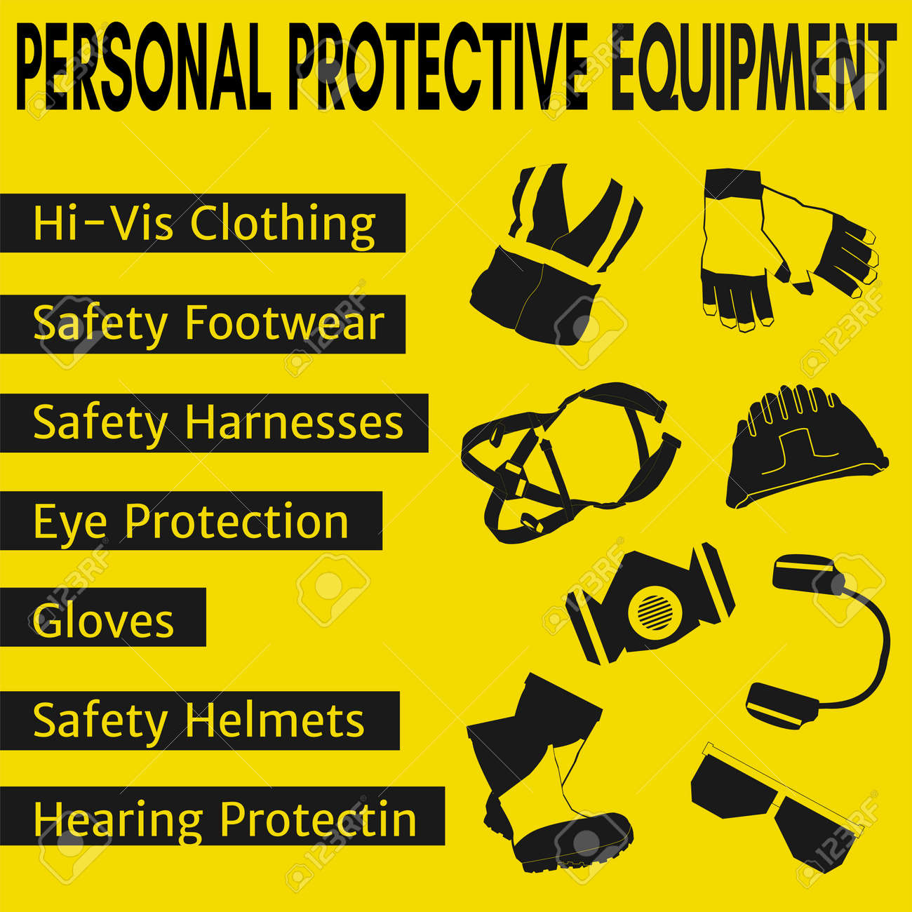 Personal Protective Equipment And Wear Set Will Be Use For Occupational Royalty Free Cliparts Vectors And Stock Illustration Image 124528922