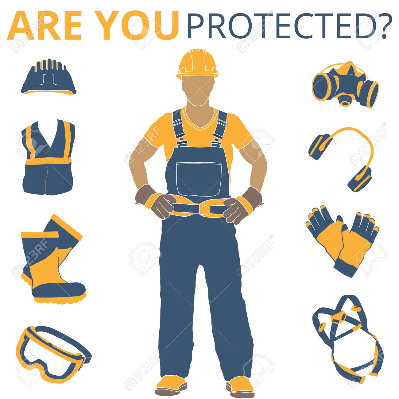 Personal Protective Equipment and Wear set. Will be use for Occupational Safety and Health poster, sign and postcard - 126893725