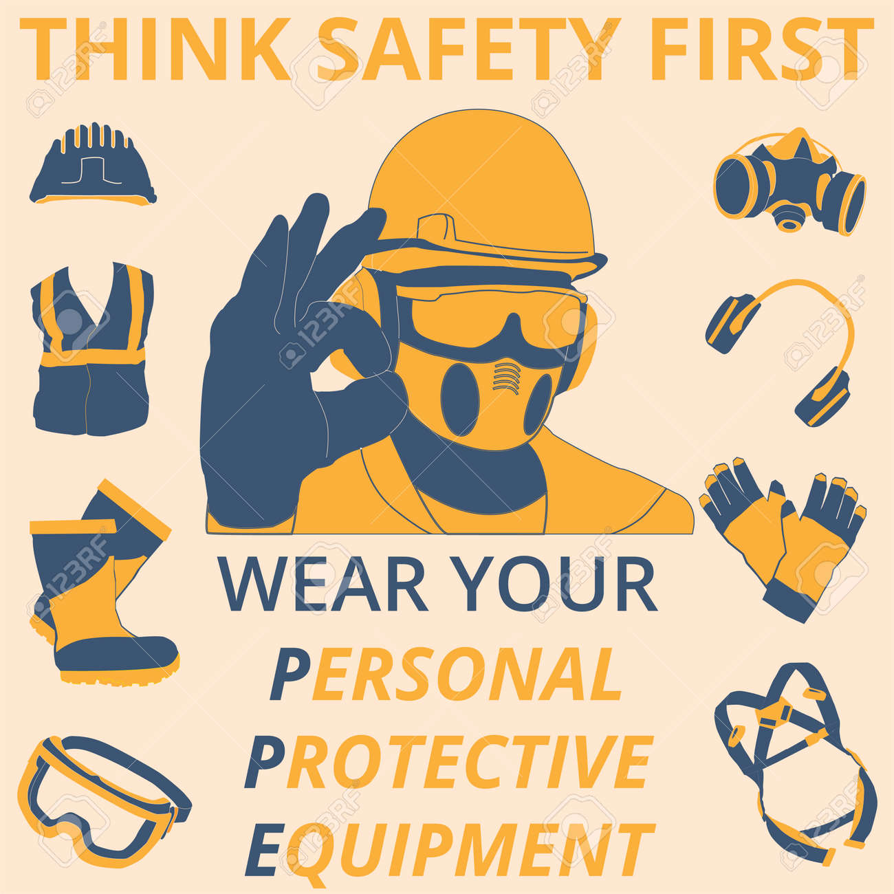 Personal Protective Equipment And Wear Set Will Be Use For Occupational Royalty Free Cliparts Vectors And Stock Illustration Image 124528983
