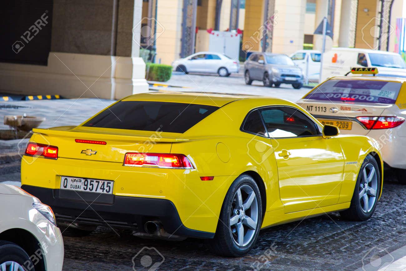 Dubai Uae February 19 2018 Yellow Chevrolet Camaro Rides On