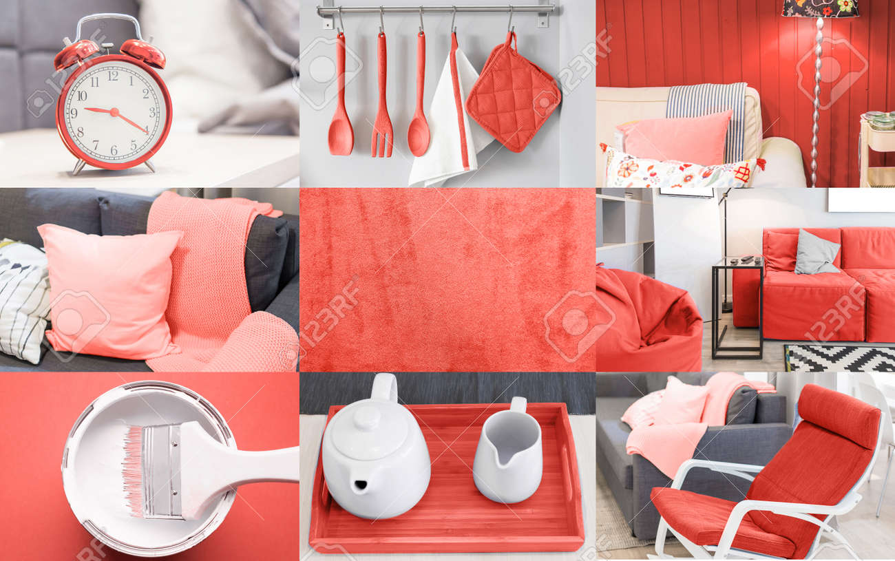 Interior collage in coral color trend of the year 2019 - 114243988