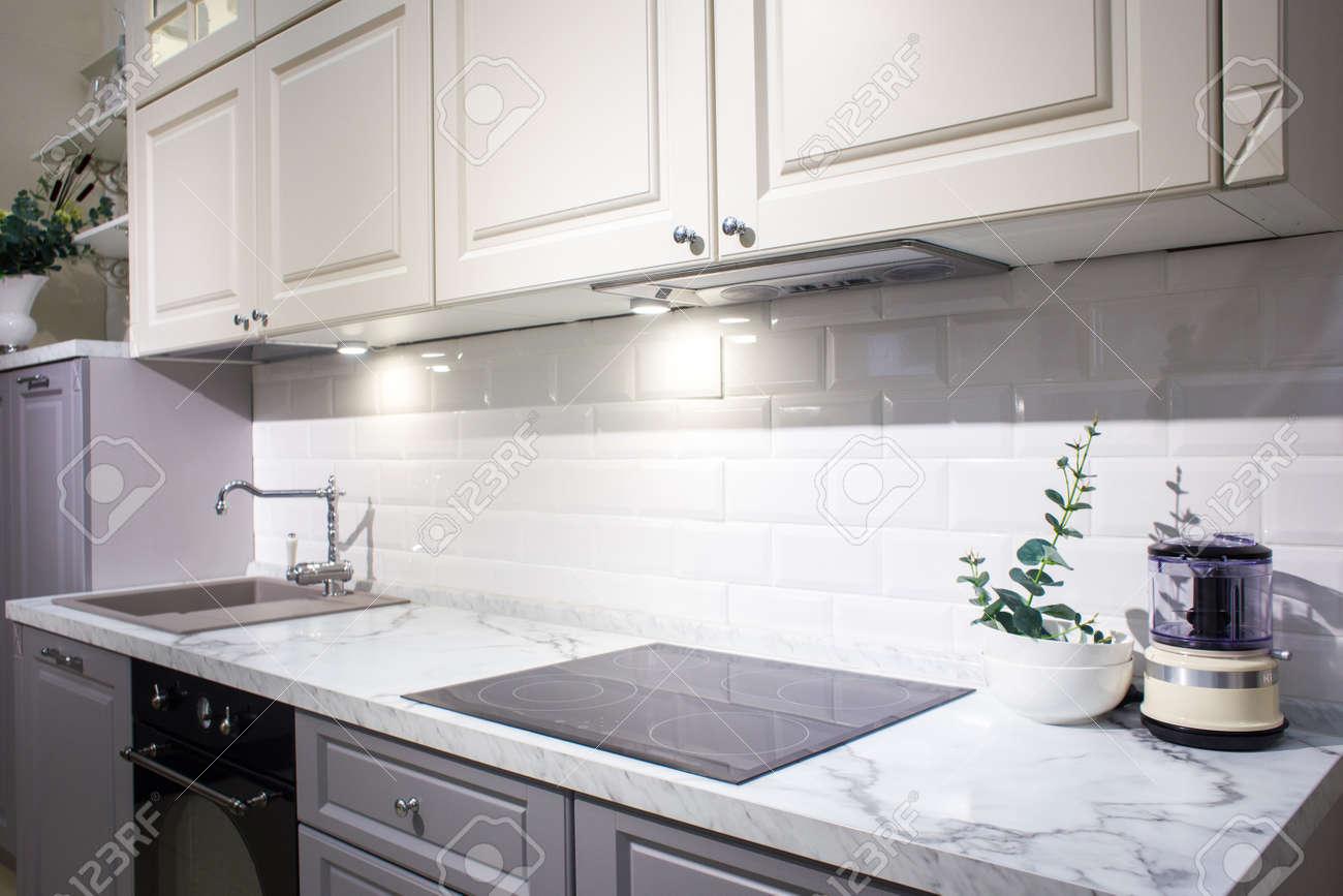 wooden countertops in kitchen Modern Kitchen Interior With Black Brick Walls Wooden Countertops