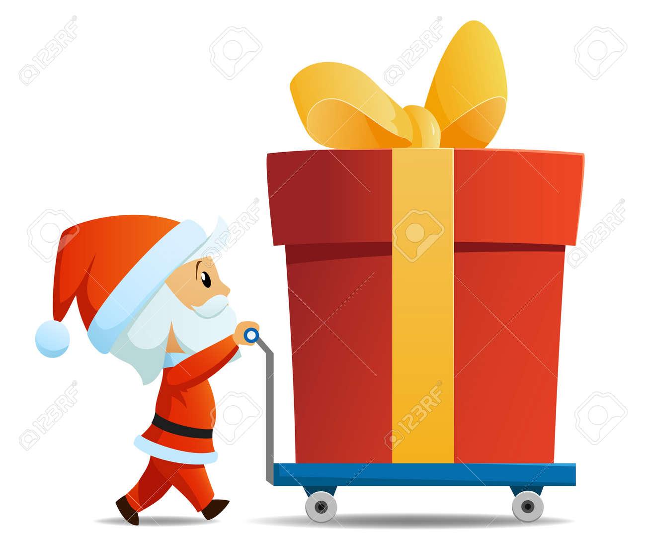 Service Men Santa With Cart And Big Christmas Gift Box Vector