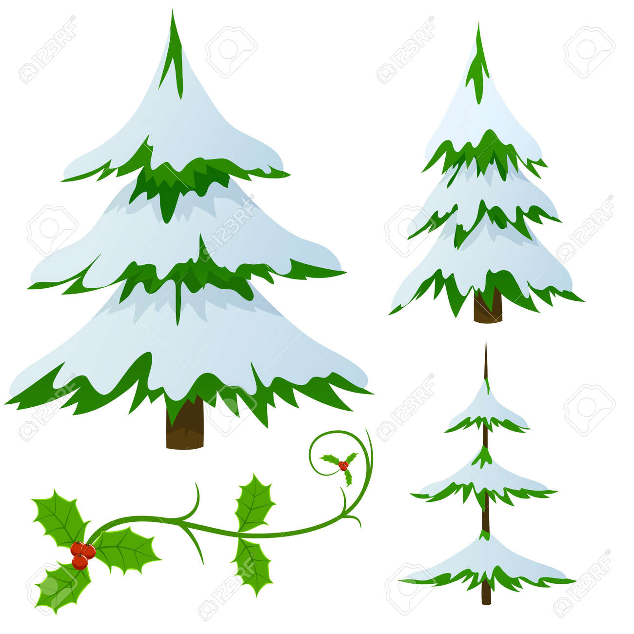 Set of snow covered fir trees and holly christmas decorated branch. Vector illustration. Stock Vector - 11536159
