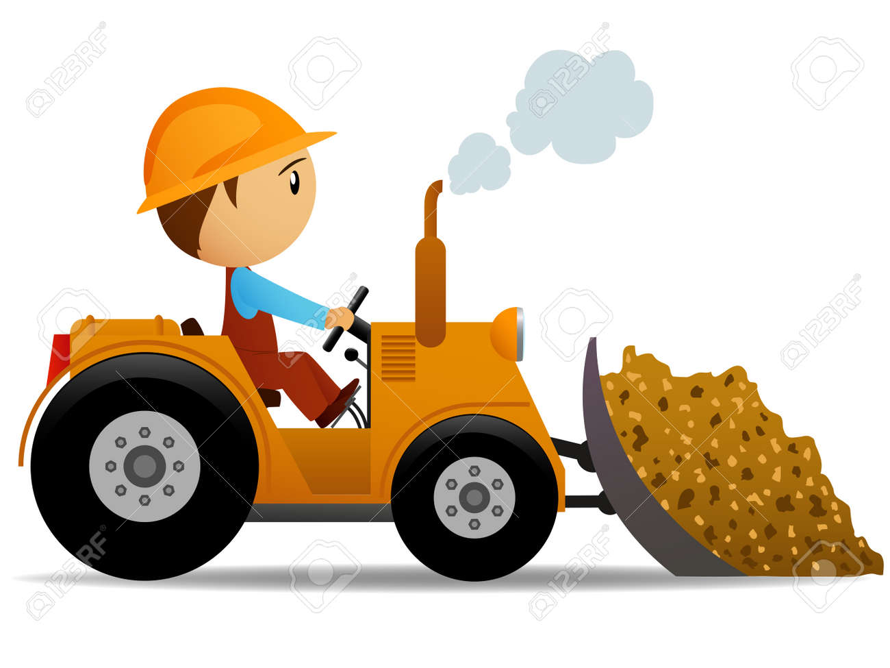Cartoon bulldozer at construction work with worker driver. Vector illustration. Stock Vector - 12387655