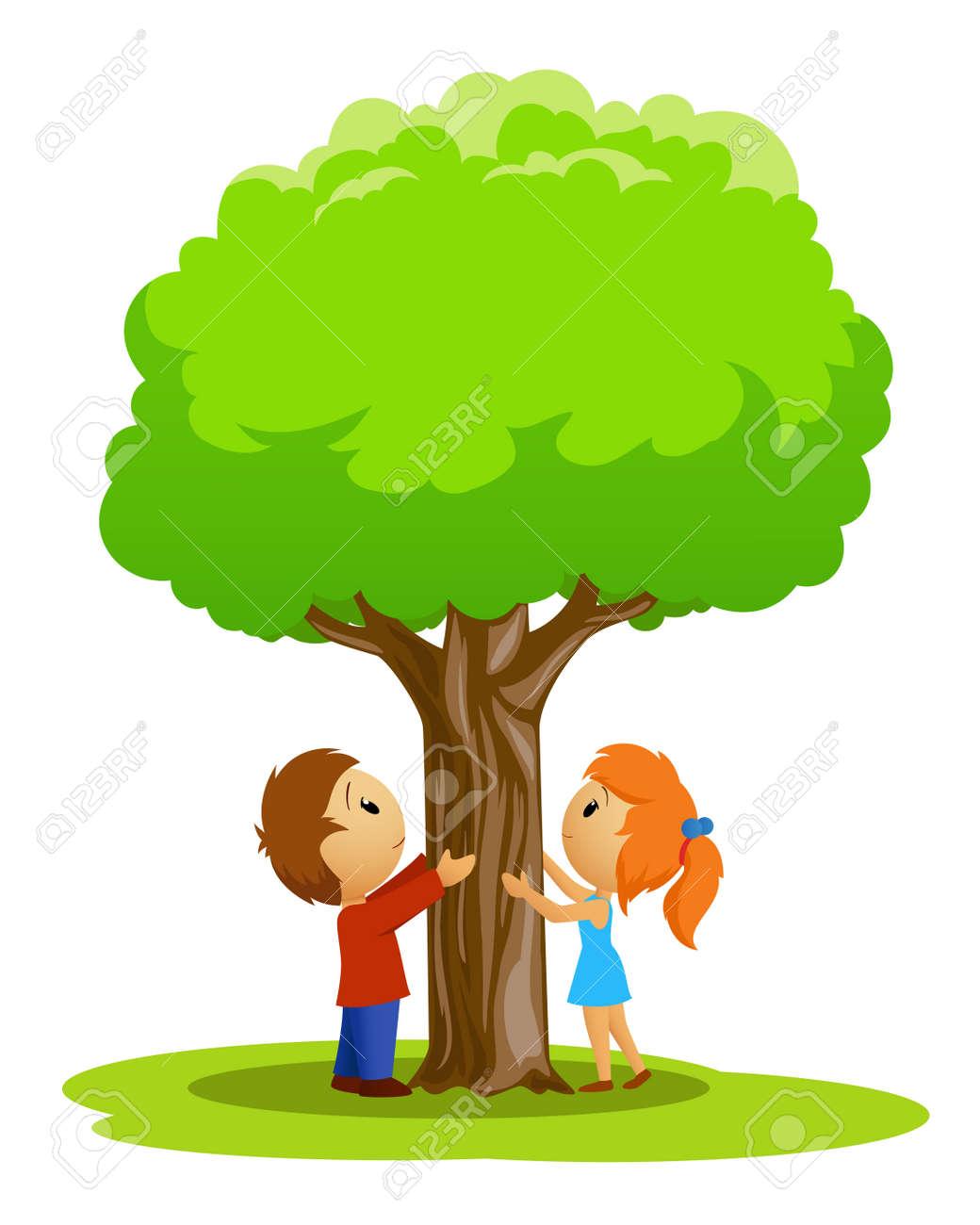 Lugar De Dibujos Animados Con Niños Y Niñas Tocó árbol En El Fondo