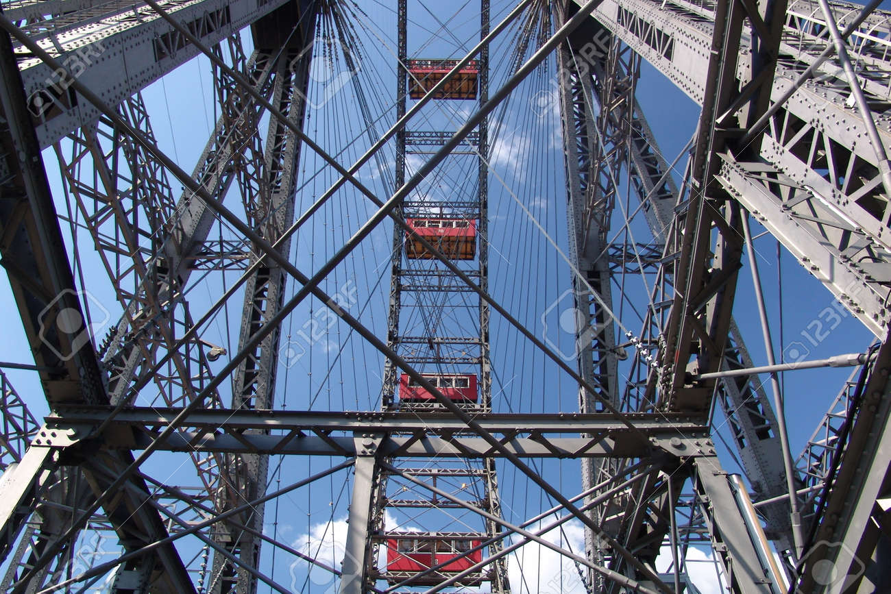 Ferris Wheel In The Prater Vienna On Steel Frame Construction Stock ...