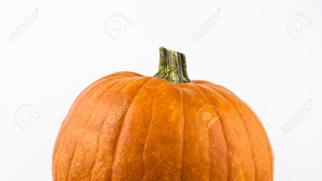 Ripe orange pumpkin on a white background. Fresh organic pumpkin on a white background. Halloween pumpkin on a white background. - 155328363