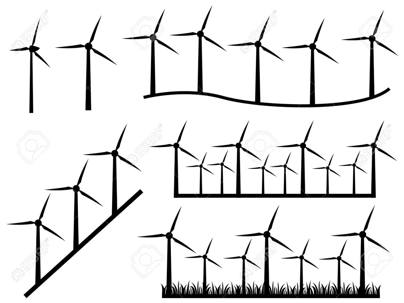 Illustration of black windmills on white background Stock Vector - 22562028