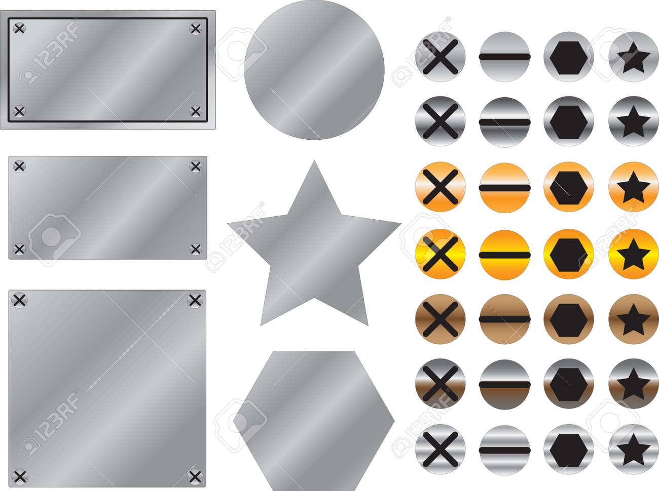 Metal background with screws illustrated on white Stock Vector - 22562108