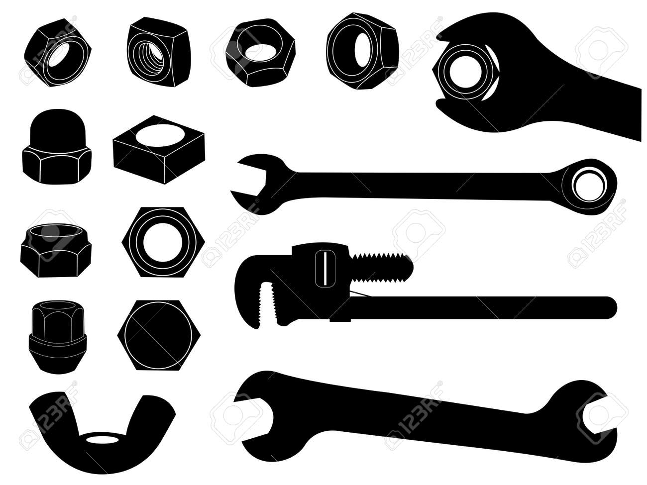 Wrench Black Vector wrench outline Screw nut and