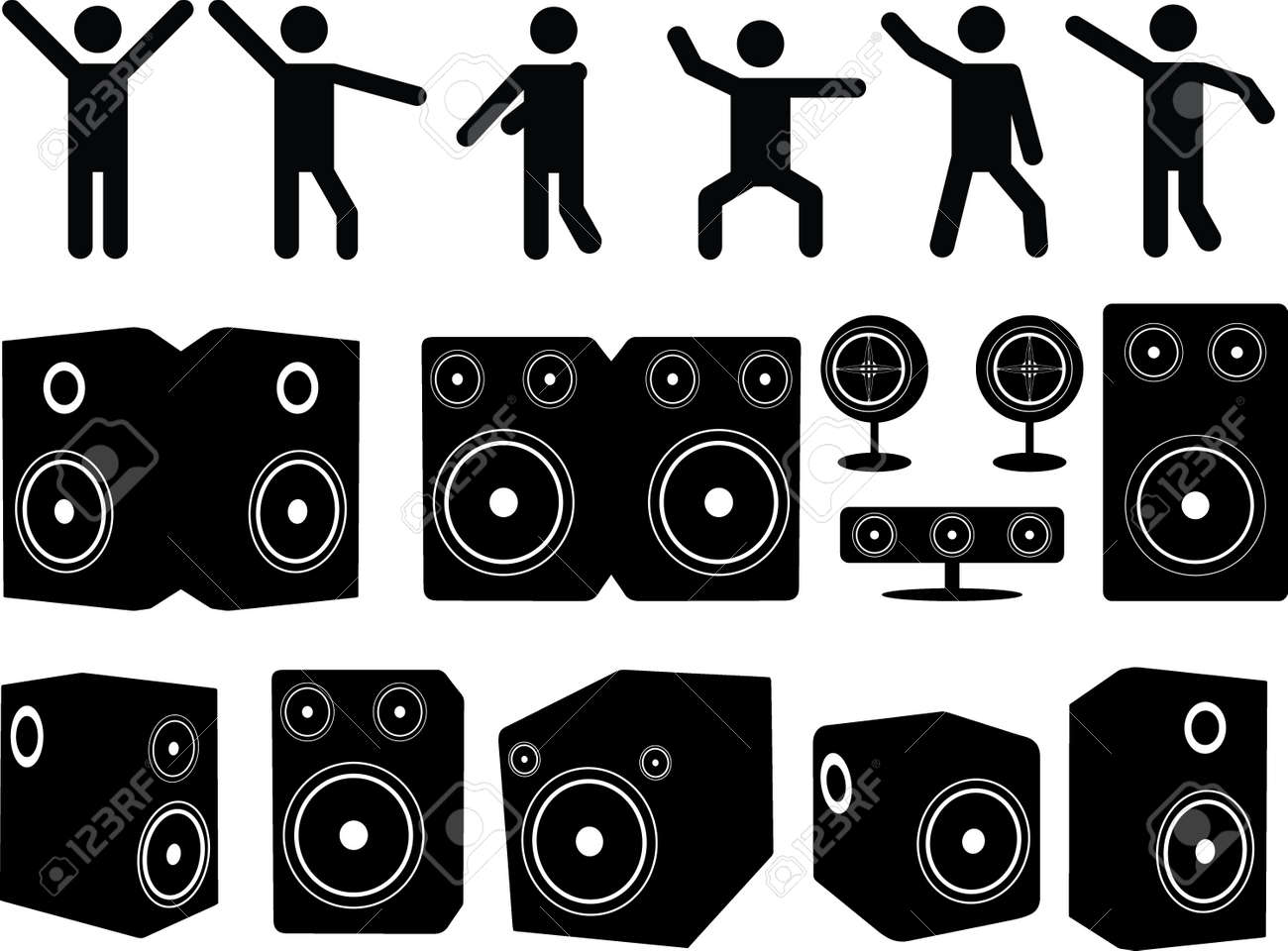 Speakers and people dancing set illustrated on white Stock Vector - 24099245