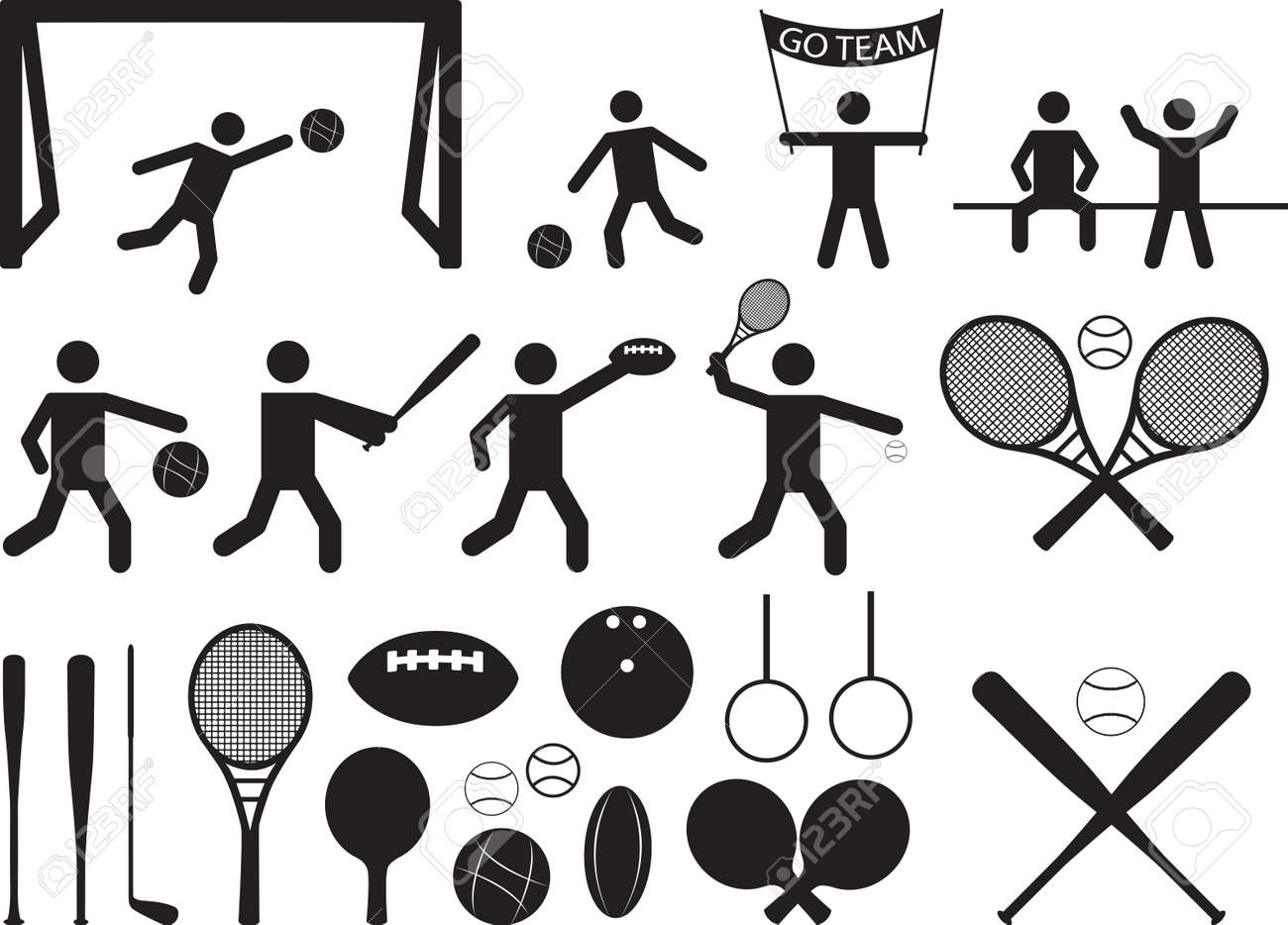 Sport pictogram people and objects illustrated on white Stock Vector - 25319434