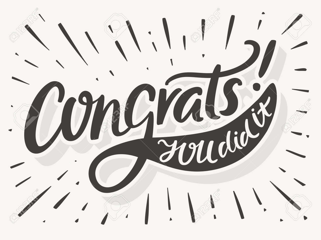congrats you did it congratulations card hand lettering vector