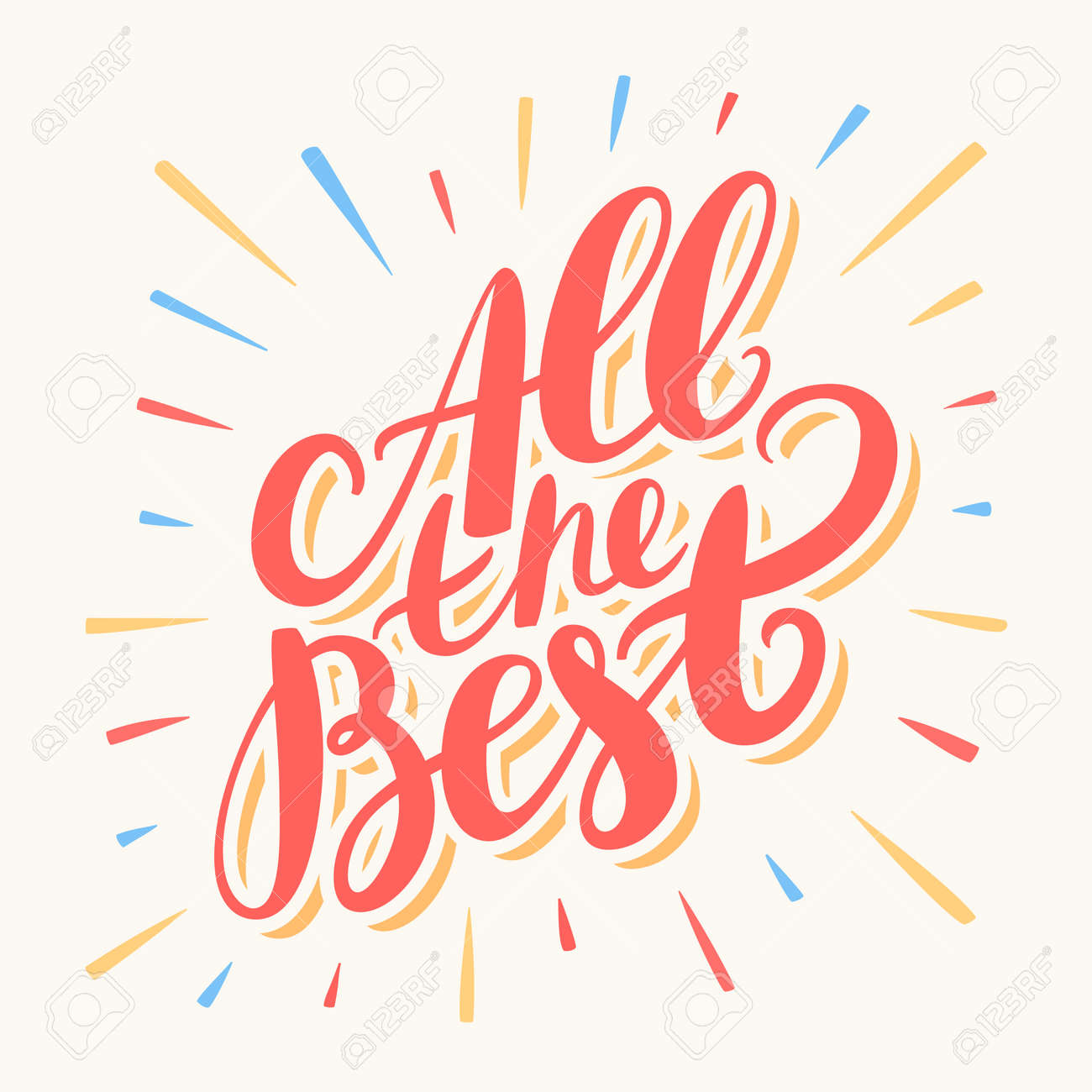 All The Best Greeting Card Hand Lettering Vector Hand Drawn