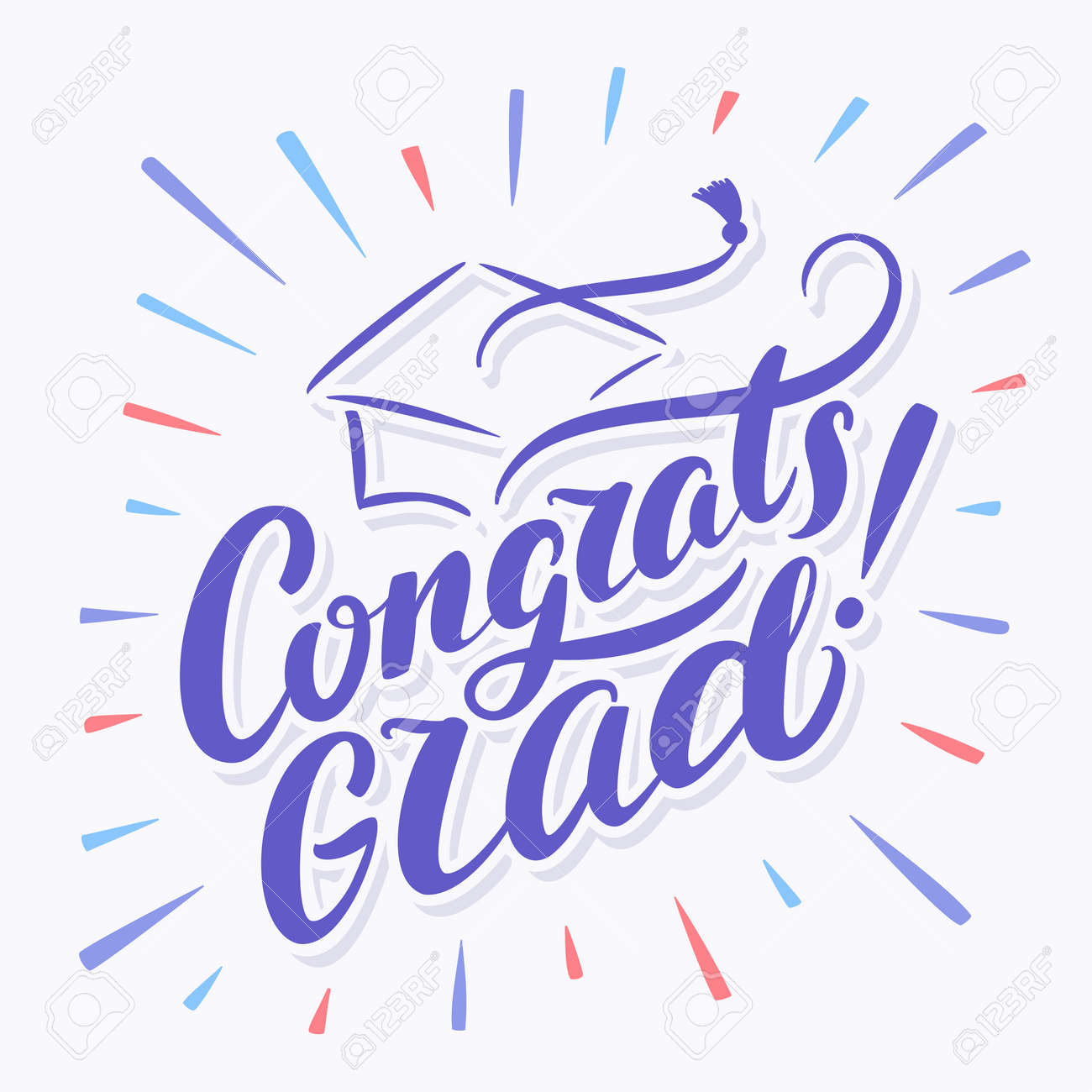 congratulations graduate banner hand lettering vector hand