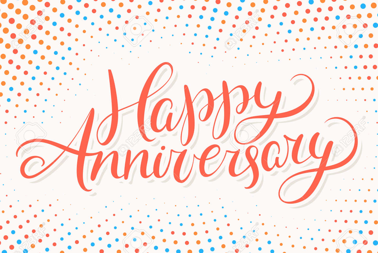 happy anniversary greeting card hand lettering vector hand drawn illustration stock vector