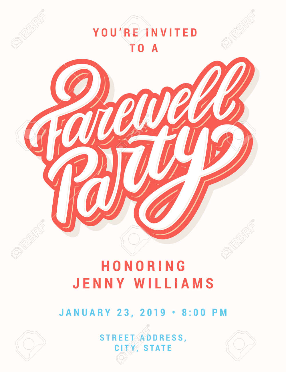 Farewell Party Invitation. Stock Vector   103954580