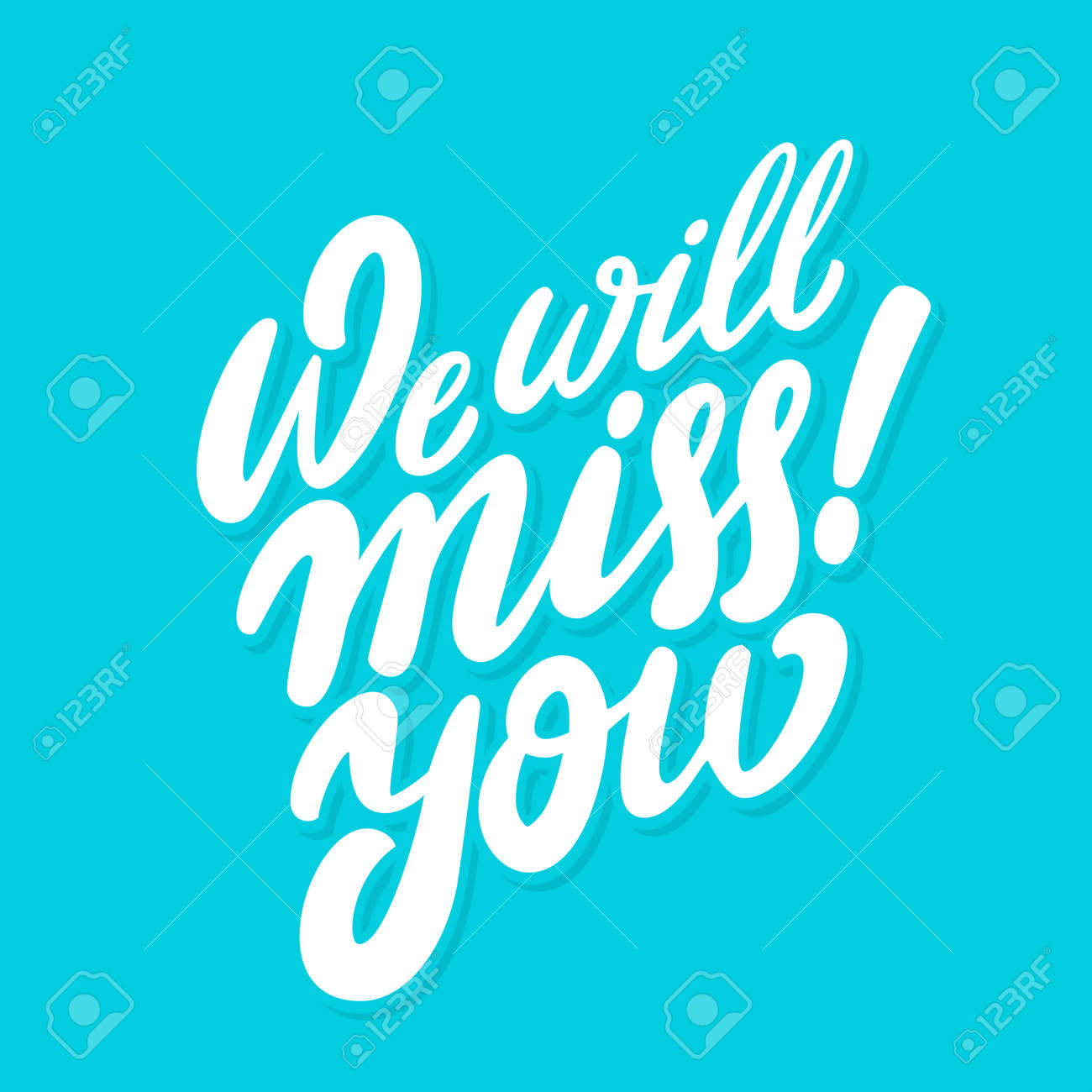 We will miss you. Farewell card. Vector lettering. Vector hand drawn illustration. - 108960987
