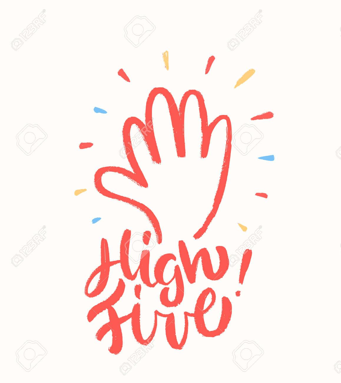 High five. Greeting card. - 158142985