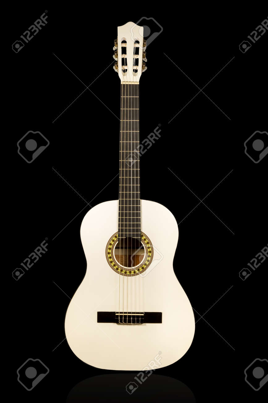 Classical wihite acoustic guitar front view isolated on black background - 31582987