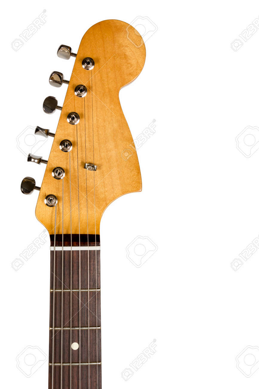 Headstock of the six string classic electric guitar on white background - 31823602