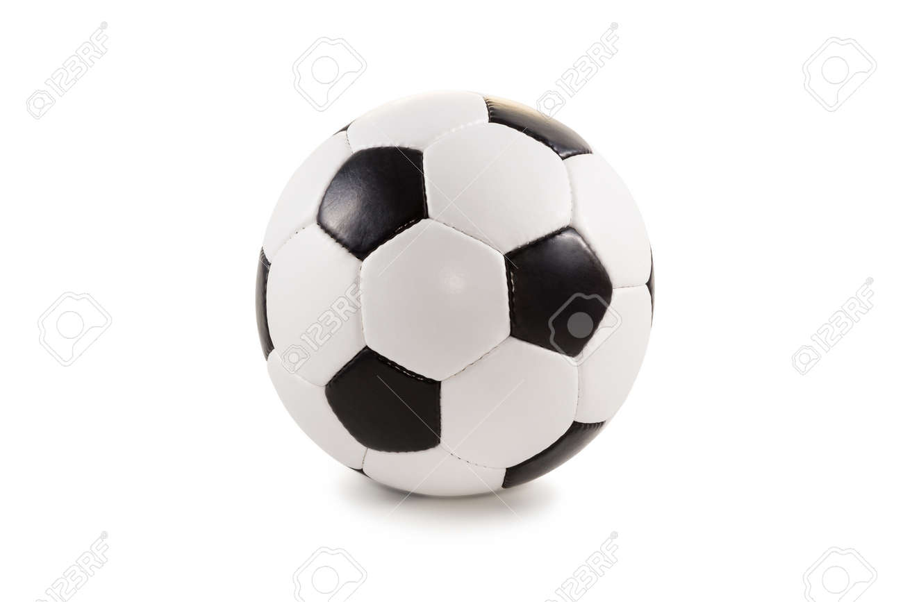 Classic black and white soccer ball isolated on a plain background - 33358496