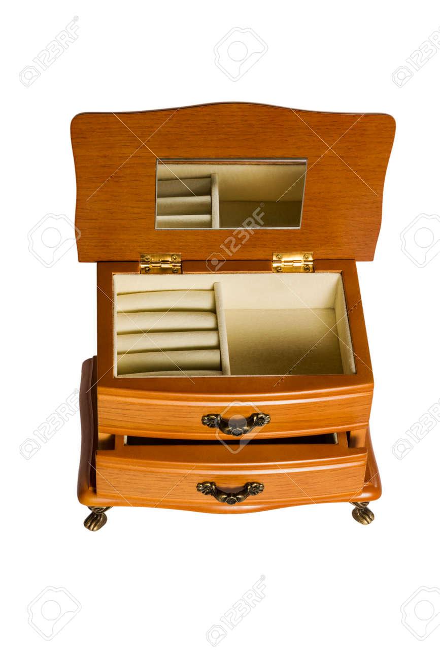 holz-geschenk-box set kommode mit spiegel schublade und fächern auf