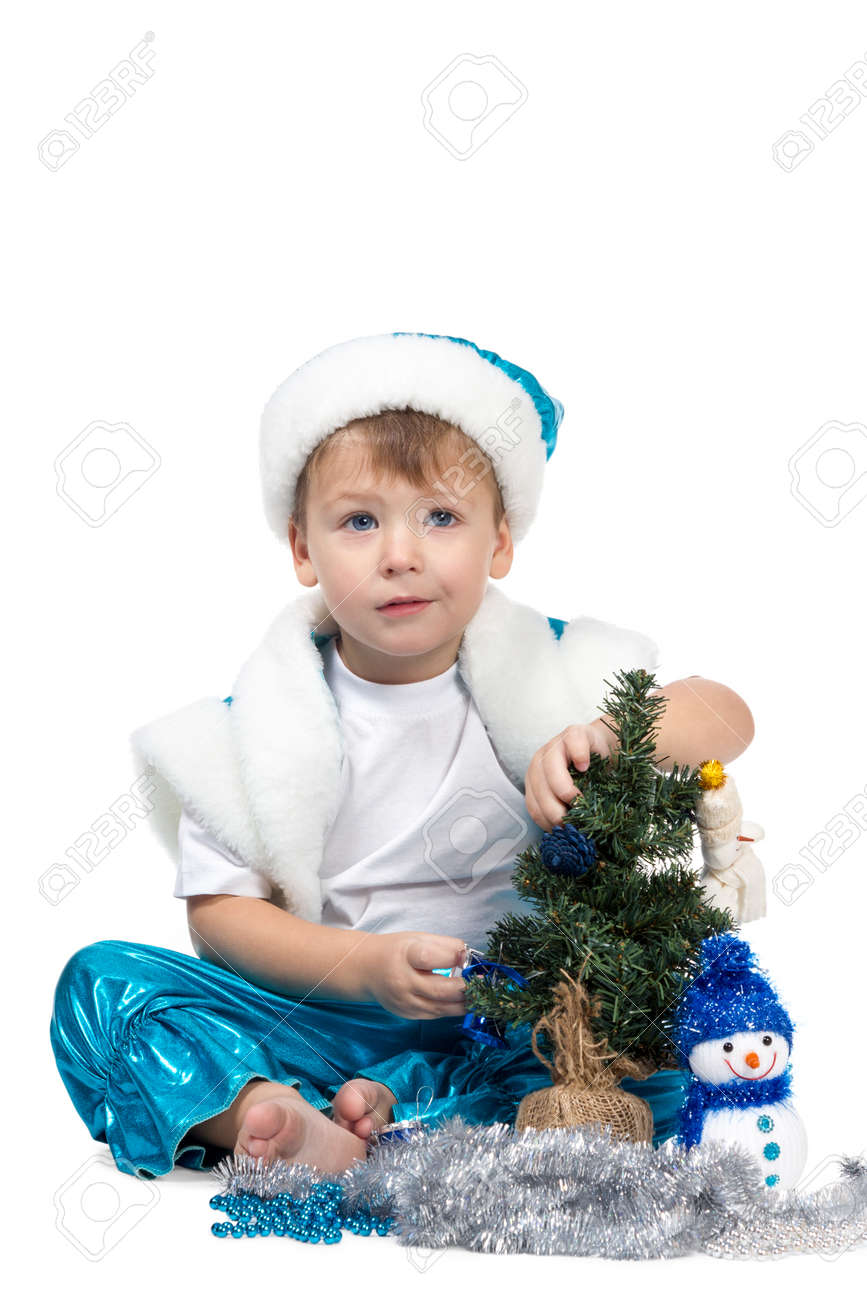 Toddler Christmas Tree Costume.Little Kid Boy In New Year Costumes Decorated Christmas Tree